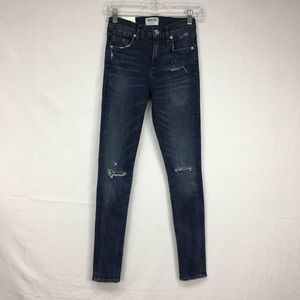 Agolde Dark Wash Distressed Denim Skinny Jeans
